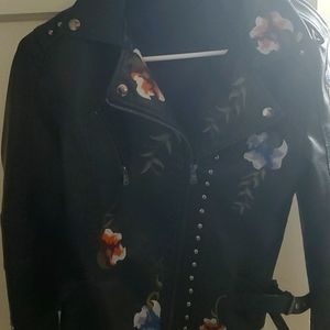 Embroidered leather moto jacket